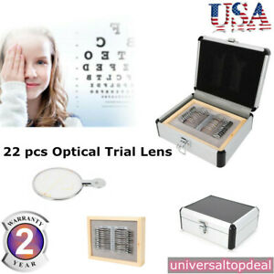 1 00 3 50ds Optometry Optical Trial Lens Set 22 Pcs Metal Rims Aluminum Case