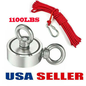 1100lbs Double Sided Strong Neodymium Fishing Magnet Pulling Force With 10m Rope