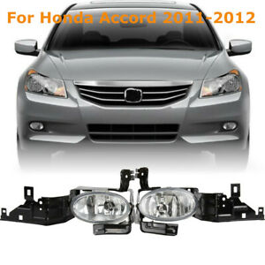 For 11 12 Honda Accord 4dr Sedan Clear Driving Fog Lights Lamps bulbs switch