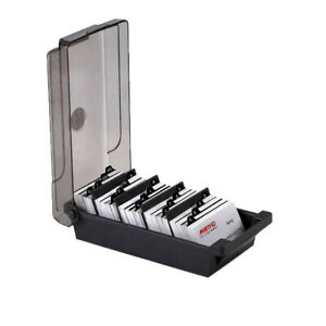Office Supply Business Card Box File 4 Divider Boards A z Guides Organizer