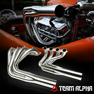 Fits Chevy Bbc Non Water Injection Boat full Length Ss Exhaust Manifold Header