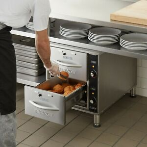 120 Volt Narrow Electric Stainless Steel Double Drawer Nacho Chip Bread Warmer