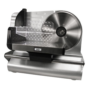 Weston 7 5 Electric Meat Slicer 200w Silver Stainless Steel Food Tray Kitchen