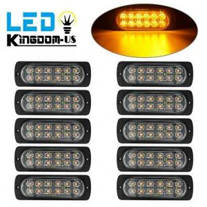 10x Amber 12 Led Emergency Hazard Flash Strobe Light Car Side Warn Marker Lights