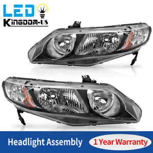 For 2006 2011 Honda Civic Sedan 4dr Headlight Assembly Headlamp Replacement Pair