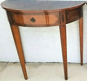 1 Bombay Company Federal Style Demilune Half Moon Cherry Table With Drawer