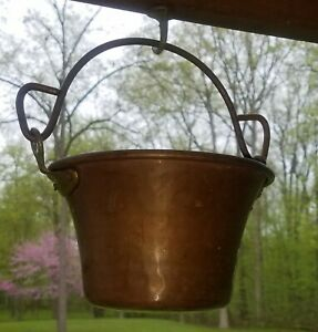 Antique Copper Pot Cauldron Hand Hammered Round Bottom Hanging Riveted