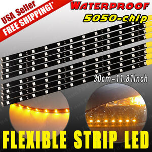 8x Waterproof 30cm 12led Strip Light Flexible Car Lighting Decor Lamp Yellow 12v