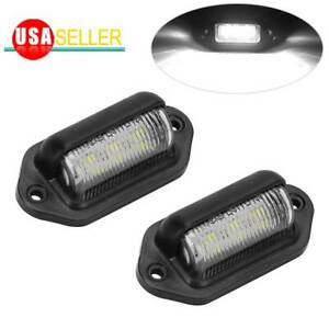 2x Universal 6 Led License Plate Light Waterproof Truck Suv Trailer Beacon Lamps