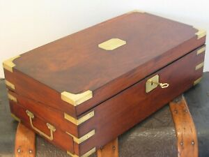 Antiique English Victorian Ca 1885 Campaign Mahogany Sea Captain S Lap Desk