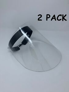 2 Pack Premium Reusable Safety Face Shields Protect Face Mask Clear Vision