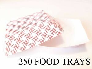 250 Disposable 2 Lb Pound Paper Food Trays Cardboard Plates Boat Baskets
