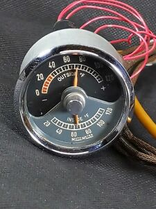Rare Vintage Early Porsche 356 Pre A Motometer Inside Outside Temperature Gauge