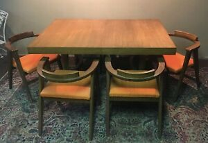 Mid Century Modern Abstract Dining Set 6 Chairs
