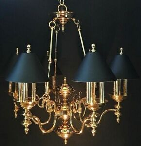 French Empire Bouillotte 18 Lamp Brass Chandelier Black Tole Shades Colonial