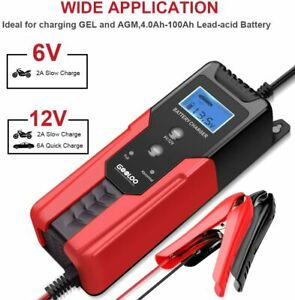 Gooloo 6v 12v Smart Battery Charger And Maintainer 6 amp Full Automatic 6 stages