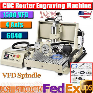 Usb 4 Axis 1500w Cnc Router 6040 Engraver Machine Diy Pcb Wood Milling Carving