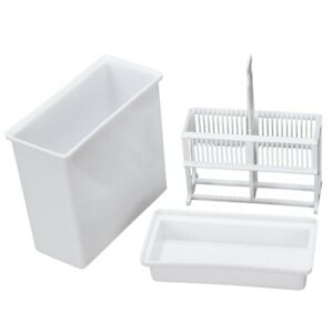 2 In 1 White 24 Pieces Microscope Slides Staining Rack Dish Set I8t2