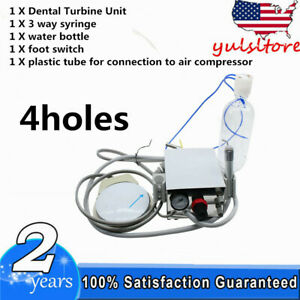 4h Dental Portable Turbine Unit Work For Air Compressor 4 Hole 3 Way Syringe Us