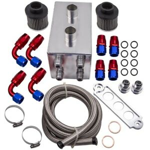 New Aluminum Oil Catch Can Breather With Hose Kit 4 Port 10an For Acura