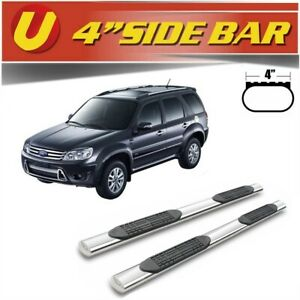 Fits 2008 2012 Ford Escape 4 Oval Silver Nerf Bars Side Steps Running Boards