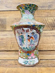 Large Antique Chinese Porcelain Famille Rose Palace Vase Multicolor 14