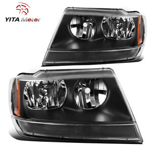 Yitamotor For 1999 2004 Jeep Grand Cherokee Black Housing Amber Headlights Lamps