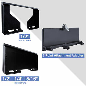 3 point Adapter Quick Attachment Mount Plate 1 2 1 4 5 16 For Kubota Skidsteer
