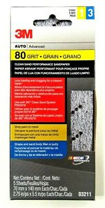 3m Premium 80 Grit Sandpaper 5 Sheet Pack Auto Body Clean Sand Less Clog System