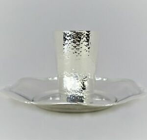 Italian 925 Sterling Silver Handmade Glossy Shiny Hammered Modern Cup