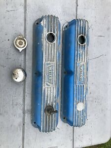 1974 Dodge Mopar 318 360 Weiand Aluminum Finned Valve Covers