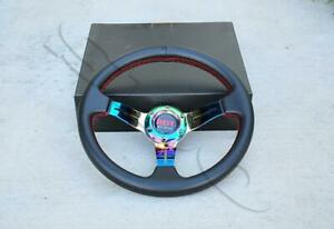 Universal Neo Chrome Pvc Leather 330mm Drifting 2 5 Deep Dish Steering Wheel