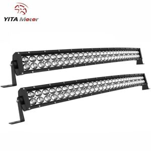 Curved 50inch Led Light Bar 288w Flood Spot Combo Roof Driving Boat Suv 4wd 52