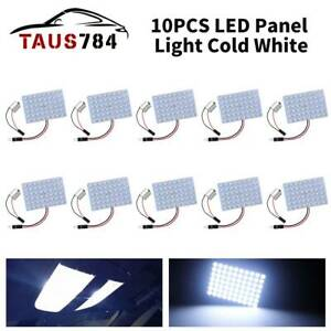 10pcs White 48 smd Led Panel Dome Interior Plate Light Bulbs Ba15s Adapter