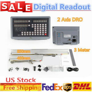 2 Axis Digital Readout Display Meter For Milling Lathe Machine Linear Scale Kit