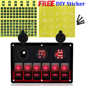 Usb Voltmeter Rocker Switch 6 Gang Panel Red Light Waterproof For Car Boat Truck