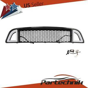 Fits 2013 2014 Ford Mustang Non shelby Front Upper Led Grille Black