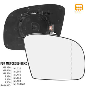 Mirror Glass Heated With Backing Plate Passenger Side Rh For Mercedes benz Gl320