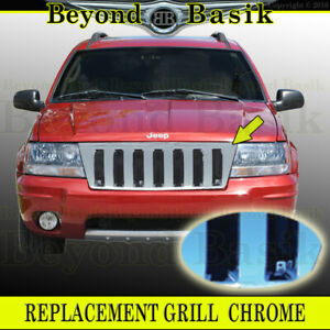 1999 00 01 02 03 2004 Jeep Grand Cherokee Hummer H2 Style Triple Chrome Grill