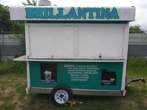 Small Food Truck Concession Trailer Fruit Snacks Blue Restaurant Used