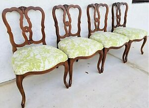 4 Antique French Provincial Cabriole Leg Mahogany Pretzel Back Dining Chairs