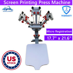 Us Stock 4 Color 1 Station Silk Screen Printing Machine With Micro Registration