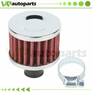 Slant Red 18mm Mini Air Intake Crankcase Breather Filter Valve Cover Catch Tank