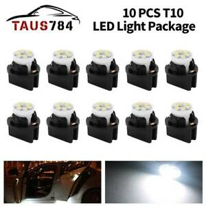 10set T10 168 Led Bulb Pc194 Twist Sockets Instrument Panel Dash Light White