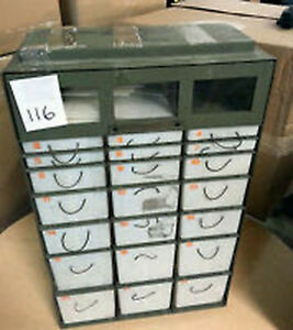 22 Drawer Parts Storage Cabinet Military Medical Instrument Chest Cols Oh
