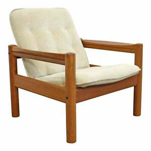 Mid Century Danish Modern Domino Mobler Tufted Teak Lounge Chair