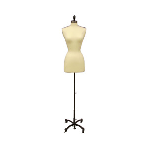 Female Dress Form Pinnable Foam Mannequin Torso Size 6 8 With Black Wheel Base