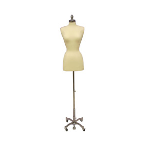 Female Dress Form Pinnable Foam Mannequin Torso Size 6 8 With Chrome Wheel Base
