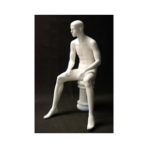Matte White Adult Male Seated Fiberglass Mannequin With Stool