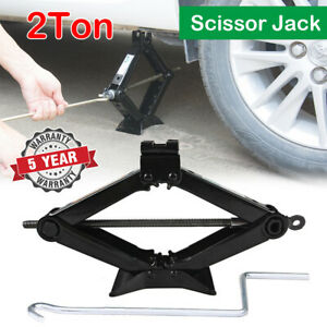 New Pro Emergency Wind Up 2 Ton Scissor Jack Lift For Car Van Garage W Handle